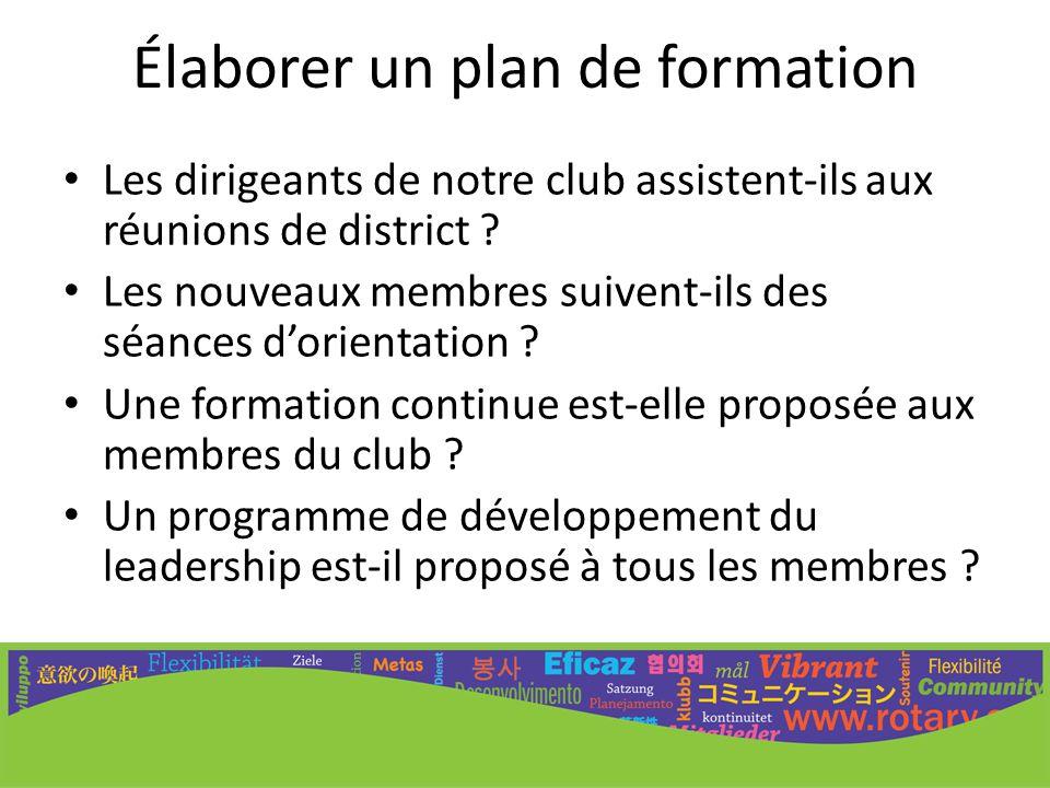 Élaborer un plan de formation Les dirigeants de notre club assistent-ils aux réunions de district ? Les nouveaux membres suivent-ils des séances d'ori