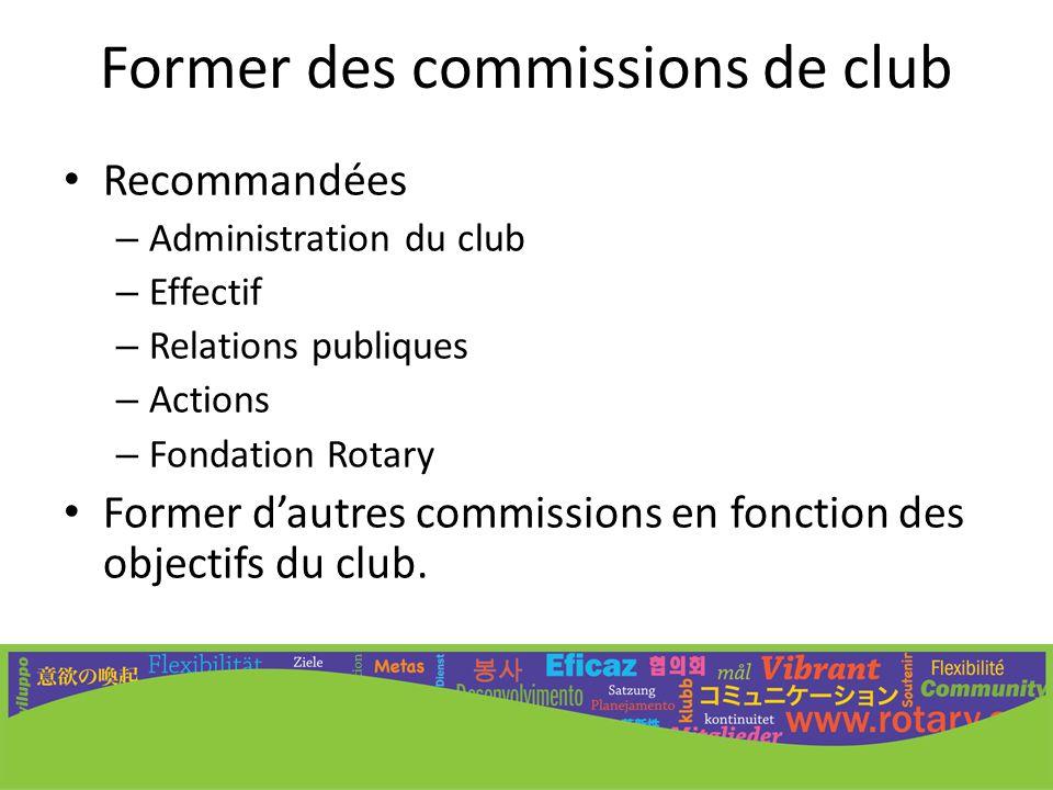 Former des commissions de club Recommandées – Administration du club – Effectif – Relations publiques – Actions – Fondation Rotary Former d'autres com