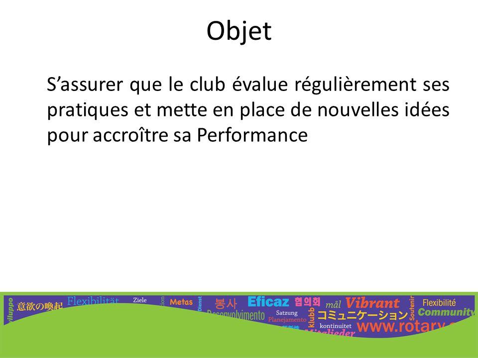Objet S'assurer que le club évalue régulièrement ses pratiques et mette en place de nouvelles idées pour accroître sa Performance