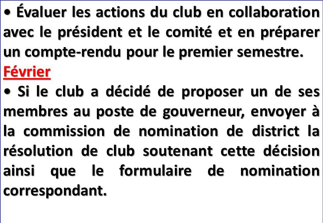 SEMINAIRE DE FORMATION SUR LE SECRETAIRE DU CLUB Évaluer les actions du club en collaboration avec le président et le comité et en préparer un compte-rendu pour le premier semestre.