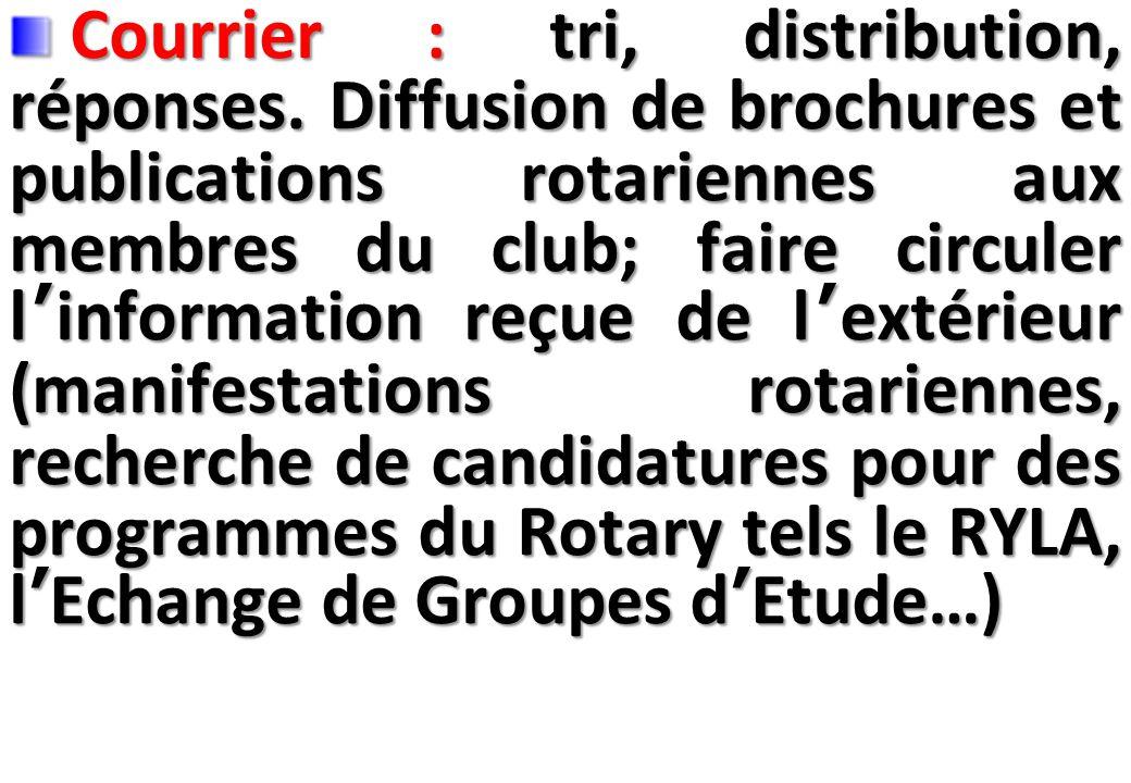 SEMINAIRE DE FORMATION SUR LE SECRETAIRE DU CLUB Courrier : tri, distribution, réponses.