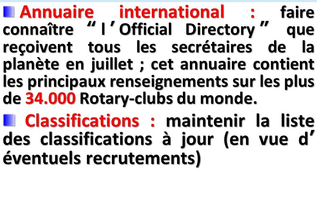 SEMINAIRE DE FORMATION SUR LE SECRETAIRE DU CLUB Annuaire international : faire connaître l'Official Directory que reçoivent tous les secrétaires de la planète en juillet ; cet annuaire contient les principaux renseignements sur les plus de 34.000 Rotary-clubs du monde.