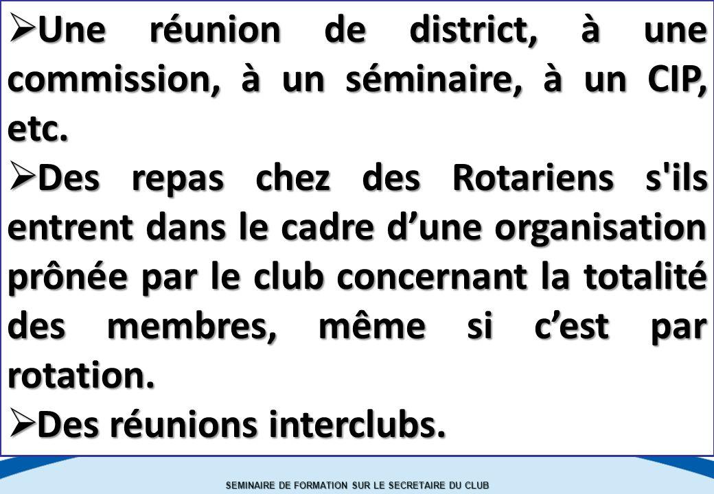 SEMINAIRE DE FORMATION SUR LE SECRETAIRE DU CLUB  Une réunion de district, à une commission, à un séminaire, à un CIP, etc.
