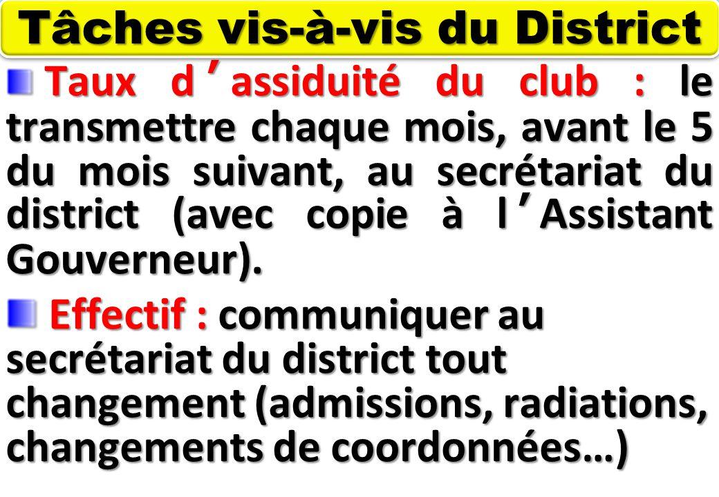 SEMINAIRE DE FORMATION SUR LE SECRETAIRE DU CLUB Taux d'assiduité du club : le transmettre chaque mois, avant le 5 du mois suivant, au secrétariat du district (avec copie à l'Assistant Gouverneur).