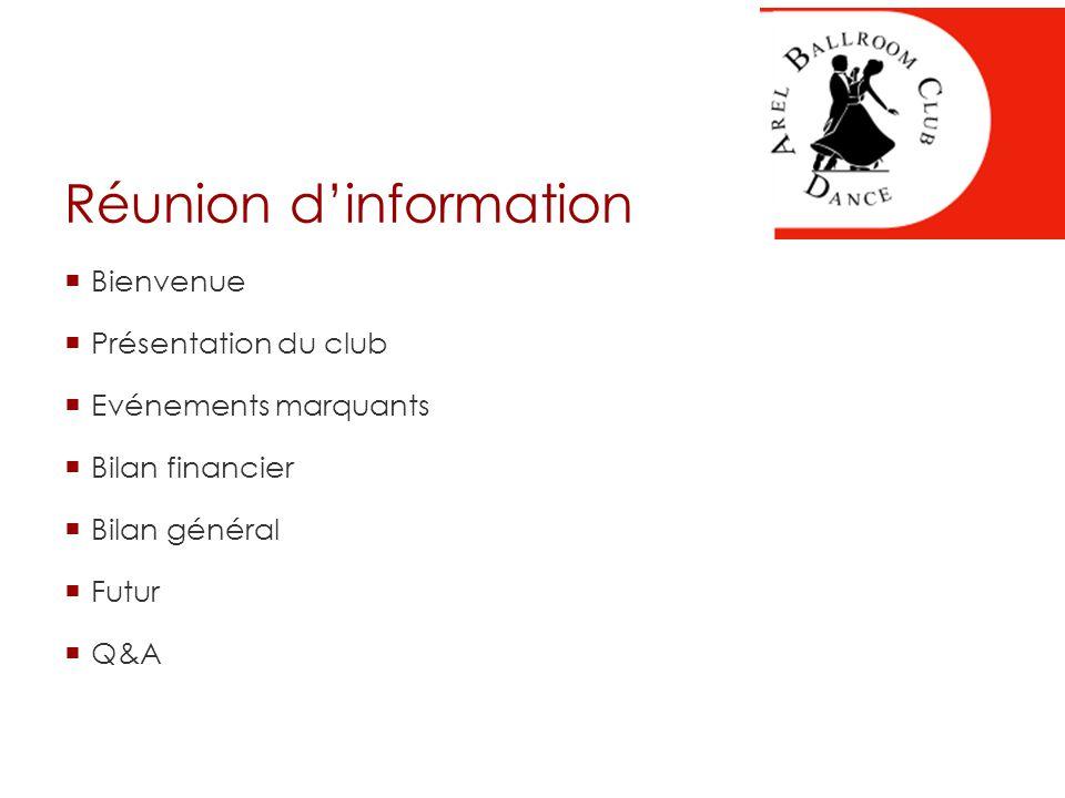 Réunion d'information  Bienvenue  Présentation du club  Evénements marquants  Bilan financier  Bilan général  Futur  Q&A