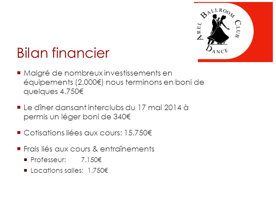 Bilan financier - Recettes