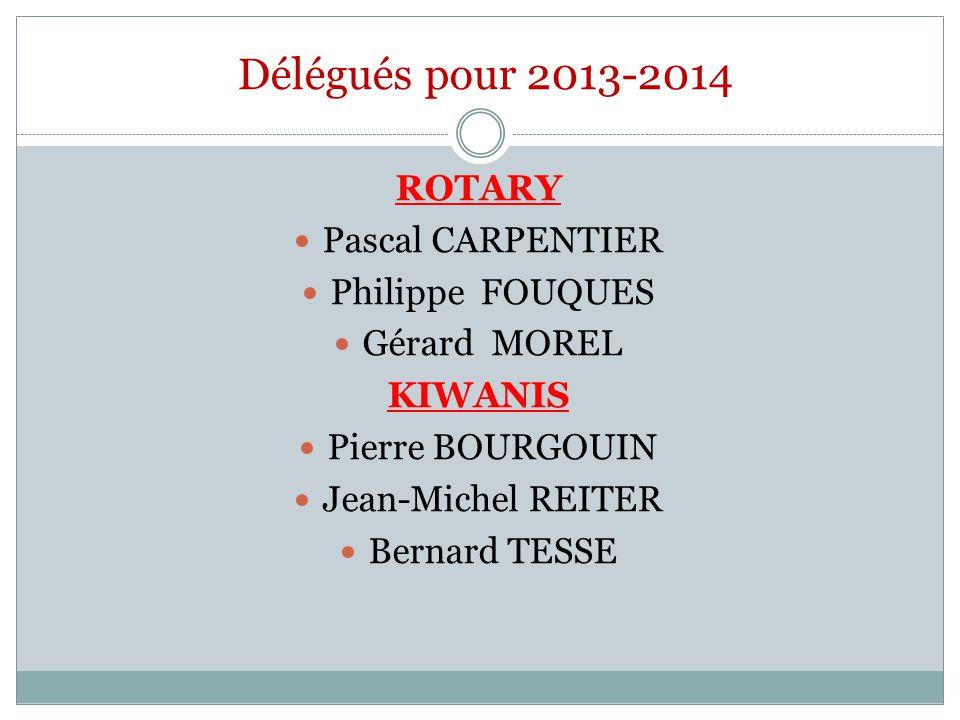 Délégués pour 2013-2014 ROTARY Pascal CARPENTIER Philippe FOUQUES Gérard MOREL KIWANIS Pierre BOURGOUIN Jean-Michel REITER Bernard TESSE