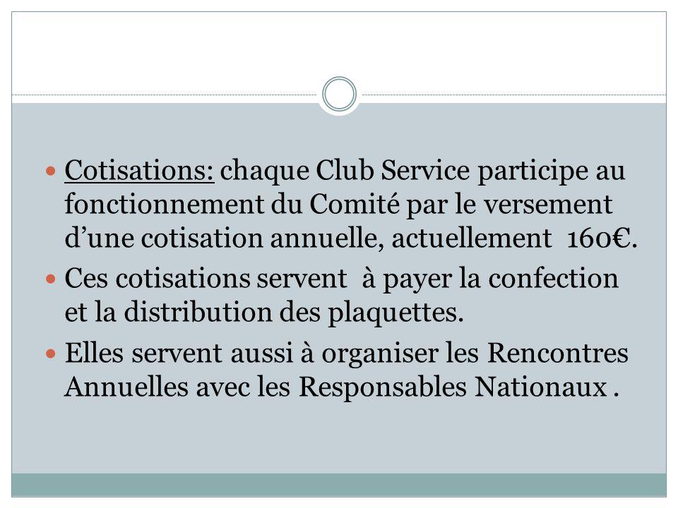 Cotisations: chaque Club Service participe au fonctionnement du Comité par le versement d'une cotisation annuelle, actuellement 160€. Ces cotisations