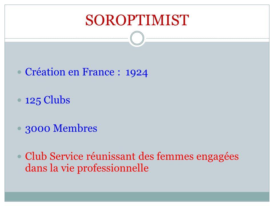 SOROPTIMIST Création en France : 1924 125 Clubs 3000 Membres Club Service réunissant des femmes engagées dans la vie professionnelle