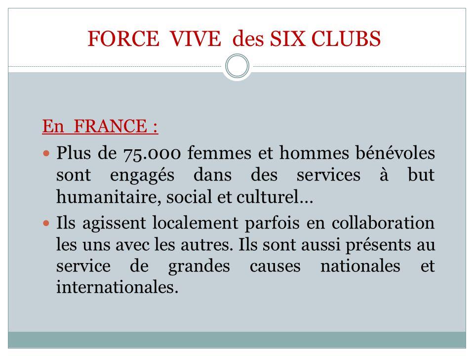 FORCE VIVE des SIX CLUBS En FRANCE : Plus de 75.000 femmes et hommes bénévoles sont engagés dans des services à but humanitaire, social et culturel… I