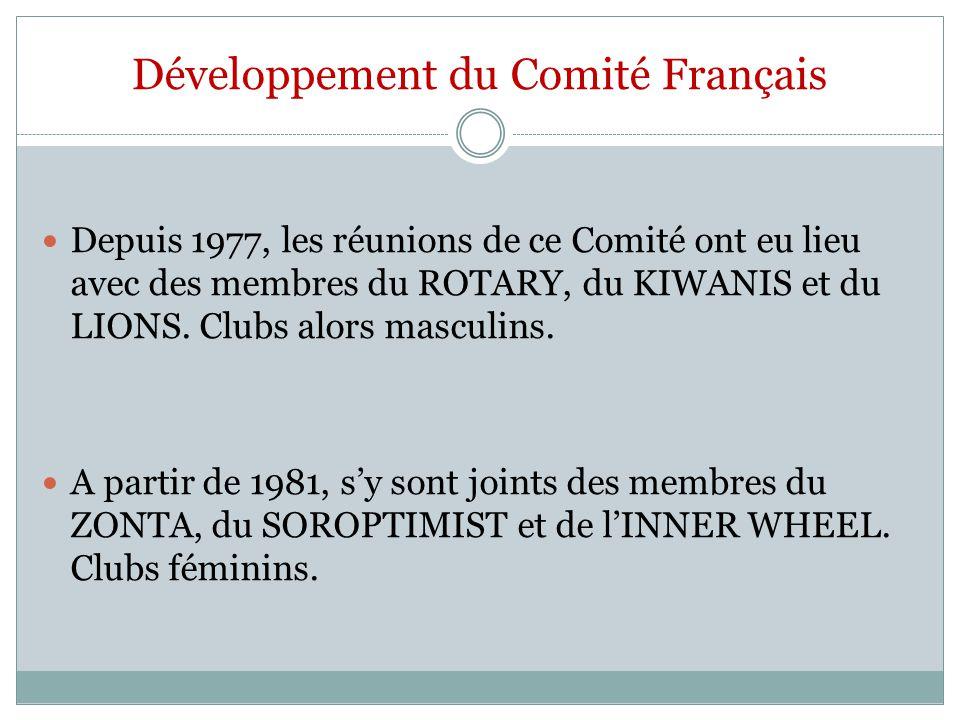 Développement du Comité Français Depuis 1977, les réunions de ce Comité ont eu lieu avec des membres du ROTARY, du KIWANIS et du LIONS. Clubs alors ma