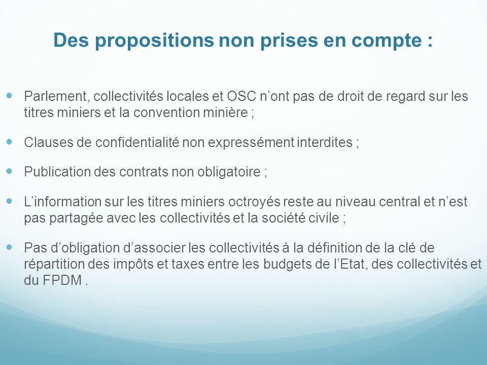 Des propositions non prises en compte : Parlement, collectivités locales et OSC n'ont pas de droit de regard sur les titres miniers et la convention m