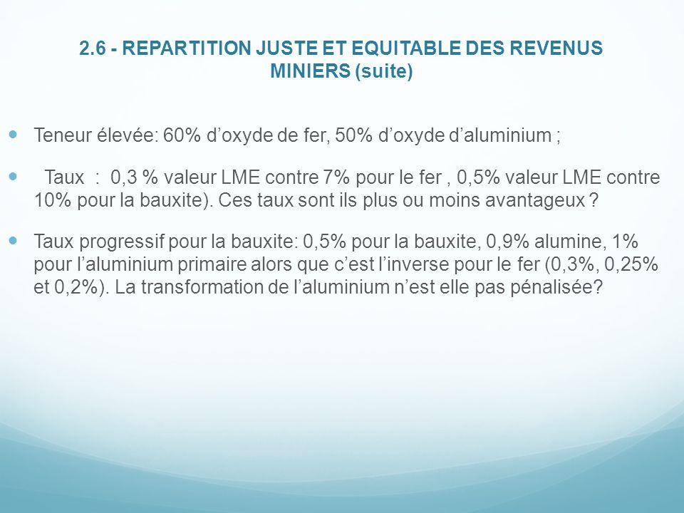 2.6 - REPARTITION JUSTE ET EQUITABLE DES REVENUS MINIERS (suite) Teneur élevée: 60% d'oxyde de fer, 50% d'oxyde d'aluminium ; Taux : 0,3 % valeur LME