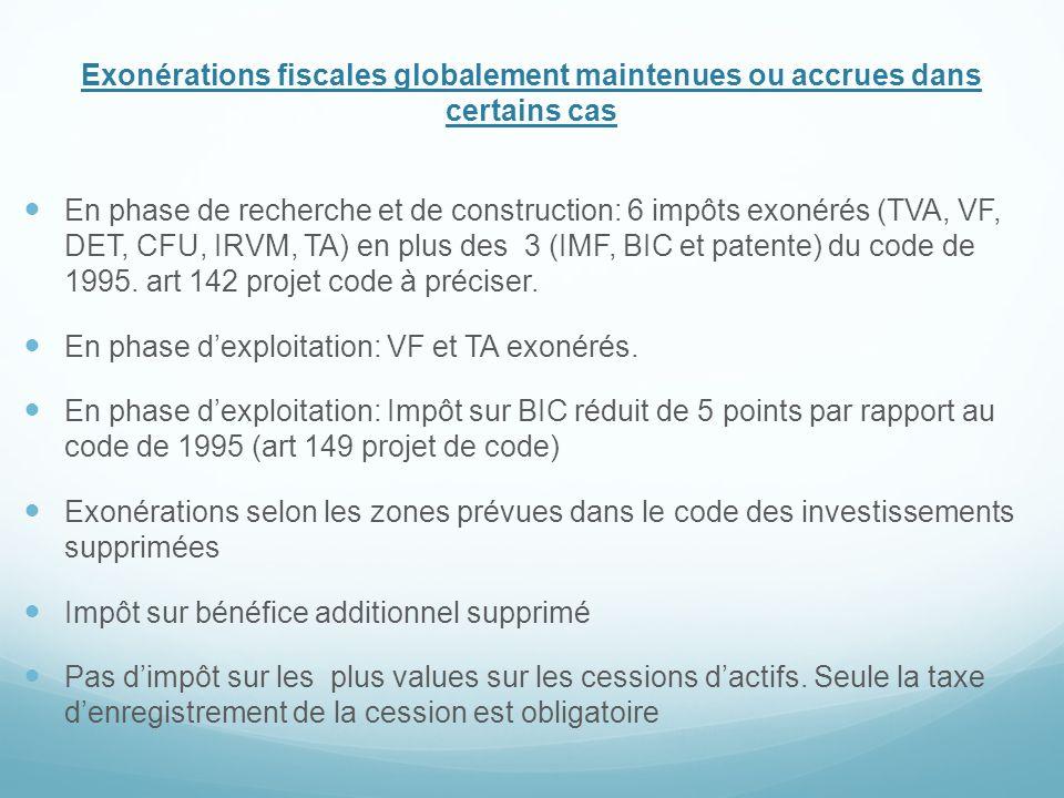 Exonérations fiscales globalement maintenues ou accrues dans certains cas En phase de recherche et de construction: 6 impôts exonérés (TVA, VF, DET, C