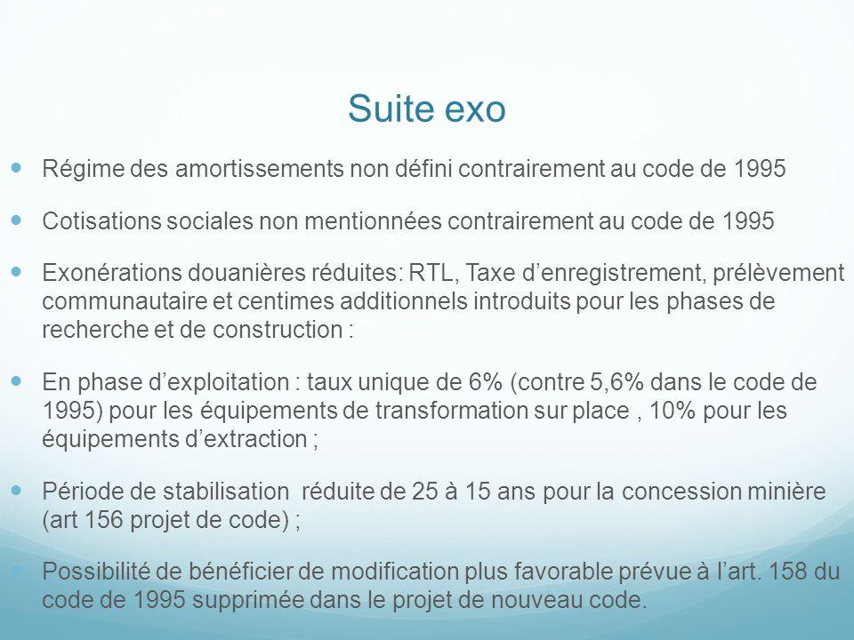 Suite exo Régime des amortissements non défini contrairement au code de 1995 Cotisations sociales non mentionnées contrairement au code de 1995 Exonér