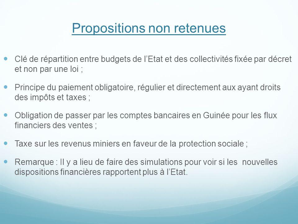 Propositions non retenues Clé de répartition entre budgets de l'Etat et des collectivités fixée par décret et non par une loi ; Principe du paiement o