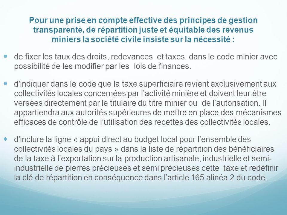 Pour une prise en compte effective des principes de gestion transparente, de répartition juste et équitable des revenus miniers la société civile insi