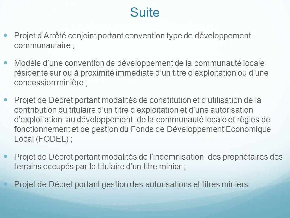Suite Projet d'Arrêté conjoint portant convention type de développement communautaire ; Modèle d'une convention de développement de la communauté loca