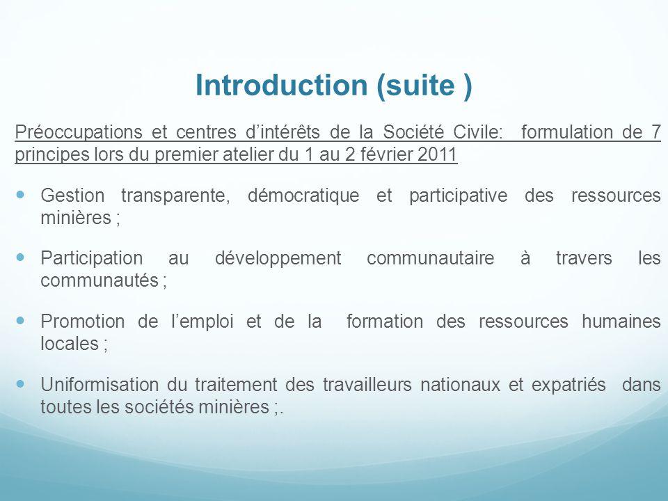 Introduction (suite ) Préoccupations et centres d'intérêts de la Société Civile: formulation de 7 principes lors du premier atelier du 1 au 2 février