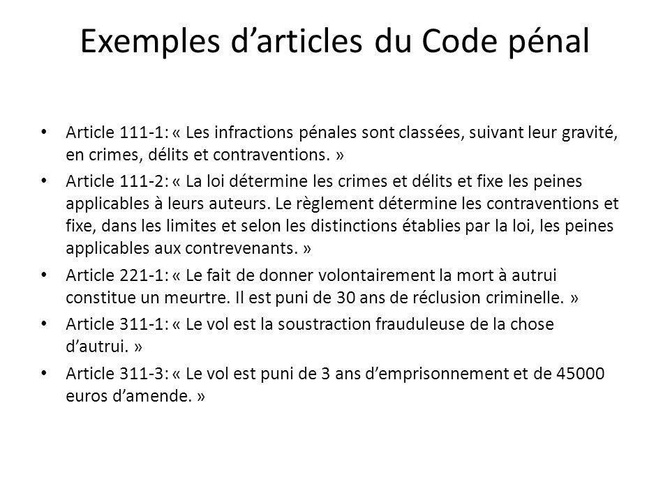 Exemples d'articles du Code pénal Article 111-1: « Les infractions pénales sont classées, suivant leur gravité, en crimes, délits et contraventions.
