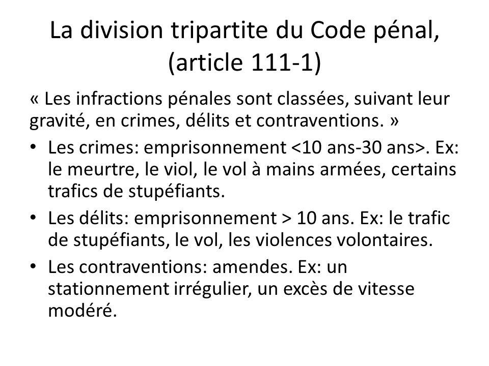 La division tripartite du Code pénal, (article 111-1) « Les infractions pénales sont classées, suivant leur gravité, en crimes, délits et contraventions.