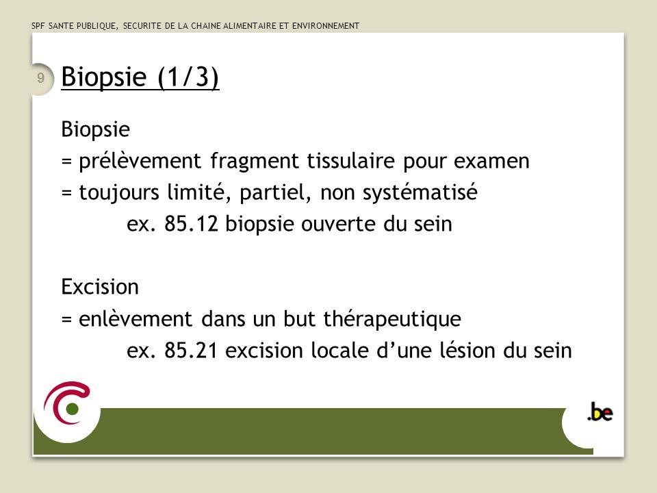 SPF SANTE PUBLIQUE, SECURITE DE LA CHAINE ALIMENTAIRE ET ENVIRONNEMENT 10 Biopsie (2/3) ouverte = au bistouri (même par laparoscopie) ex:54.23biopsie de péritoine fermée = percutanée à l'aiguille, par aspiration = par endoscopie ex:54.24biopsie percutanée de péritoine 33.24 biopsie fermée de bronche