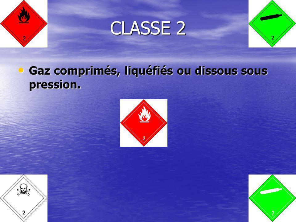 Gaz comprimés, liquéfiés ou dissous sous pression. Gaz comprimés, liquéfiés ou dissous sous pression. CLASSE 2