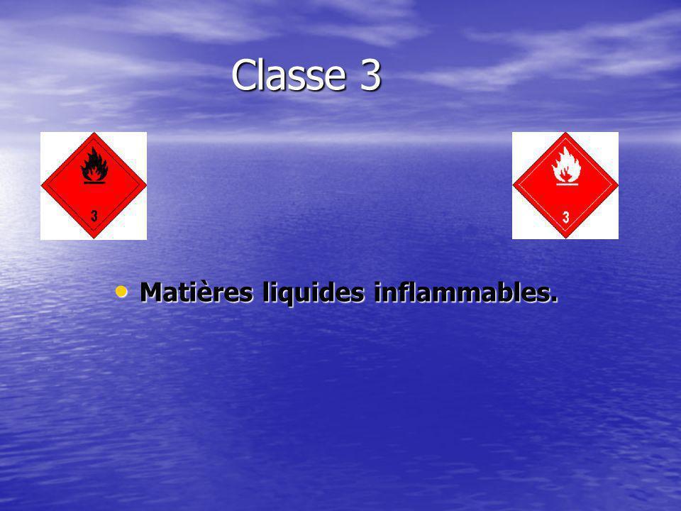 Classe 3 Matières liquides inflammables. Matières liquides inflammables.