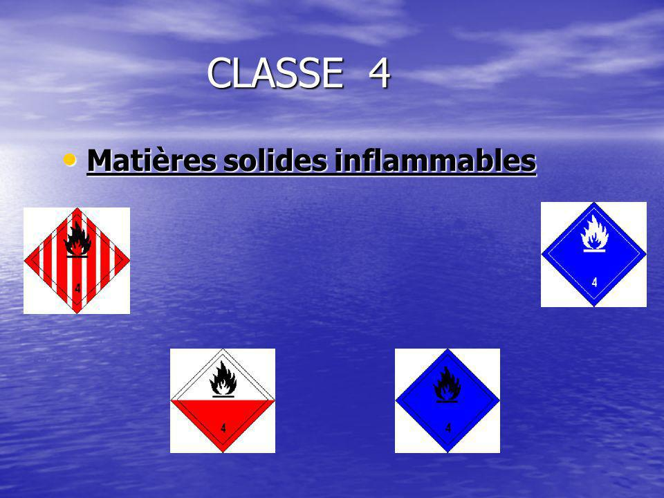 CLASSE 4 Matières solides inflammables Matières solides inflammables