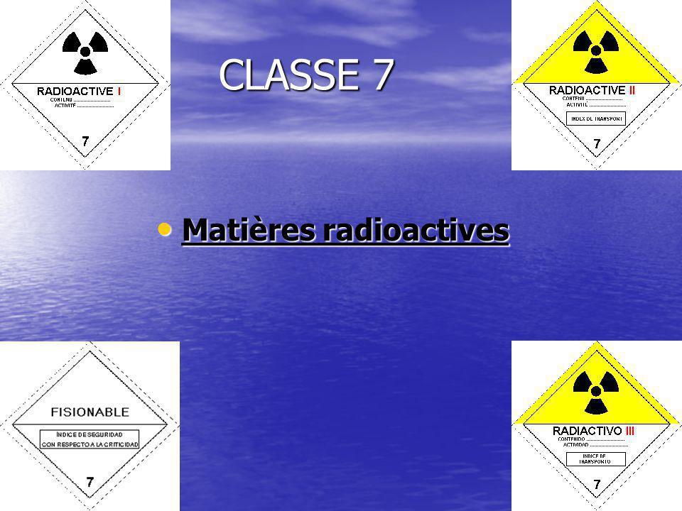 CLASSE 7 Matières radioactives Matières radioactives