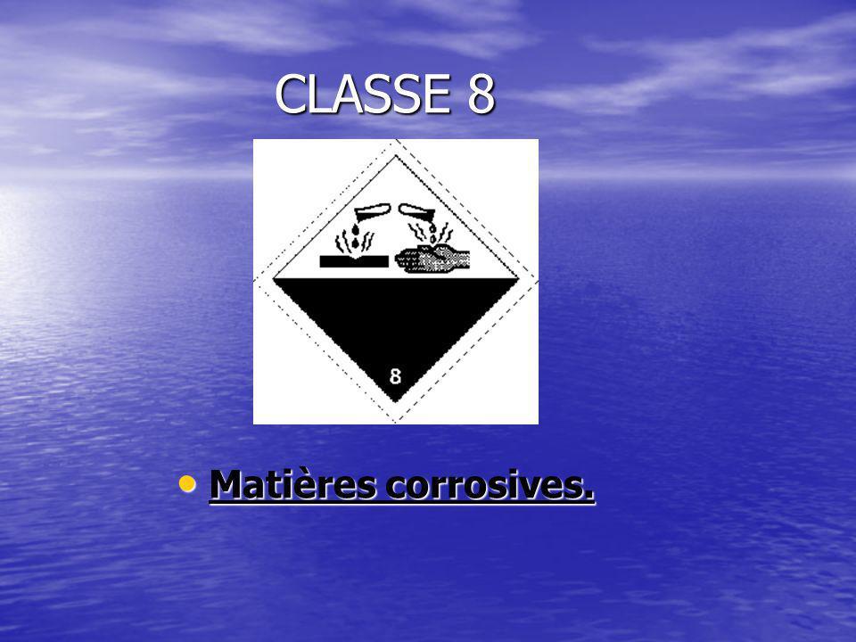 CLASSE 8 Matières corrosives. Matières corrosives.