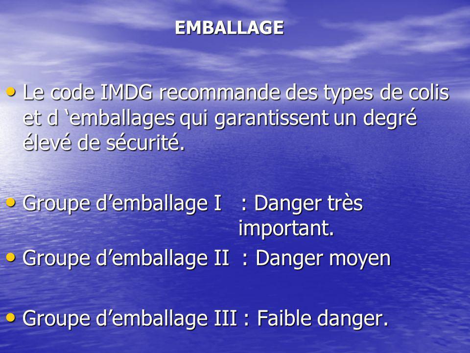 Le code IMDG recommande des types de colis et d 'emballages qui garantissent un degré élevé de sécurité.