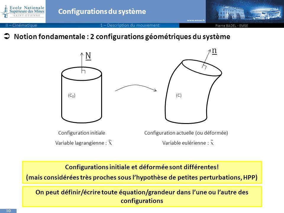 10  Notion fondamentale : 2 configurations géométriques du système Configurations du système Pierre BADEL - EMSE II – Cinématique 1 – Description du mouvement (C 0 )(C) Configurations initiale et déformée sont différentes.