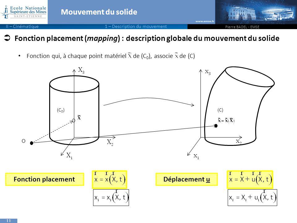 11  Fonction placement (mapping) : description globale du mouvement du solide Fonction qui, à chaque point matériel de (C 0 ), associe de (C) Mouvement du solide Pierre BADEL - EMSE (C 0 )(C) Déplacement uFonction placement II – Cinématique 1 – Description du mouvement O