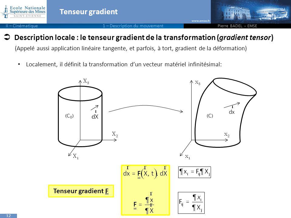 12  Description locale : le tenseur gradient de la transformation (gradient tensor) (Appelé aussi application linéaire tangente, et parfois, à tort, gradient de la déformation) Localement, il définit la transformation d'un vecteur matériel infinitésimal: Tenseur gradient Pierre BADEL - EMSE II – Cinématique 1 – Description du mouvement (C 0 )(C) Tenseur gradient F