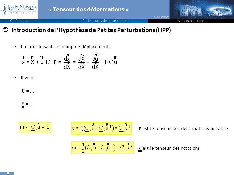 19  Introduction de l'Hypothèse de Petites Perturbations (HPP) En introduisant le champ de déplacement… Il vient « Tenseur des déformations » Pierre BADEL - EMSE II – Cinématique 2 – Mesures de déformation est le tenseur des déformations linéarisé est le tenseur des rotations