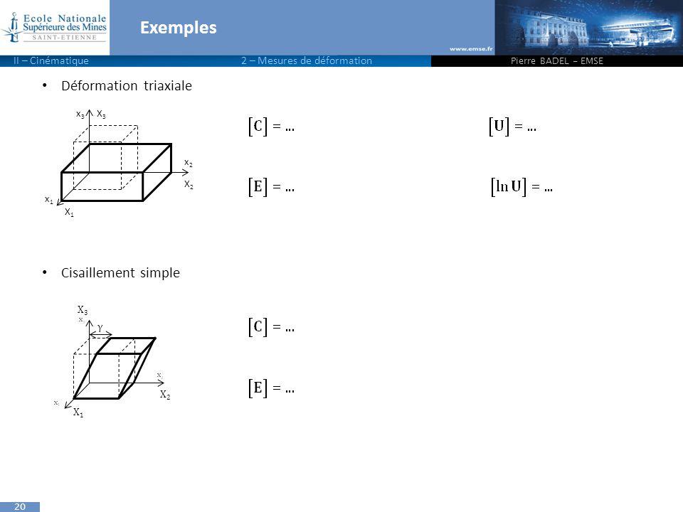 20 Déformation triaxiale Cisaillement simple Exemples Pierre BADEL - EMSE X1X1 x1x1 X3X3 x3x3 X2X2 x2x2 X3X3 X1X1 X2X2 γ II – Cinématique 2 – Mesures