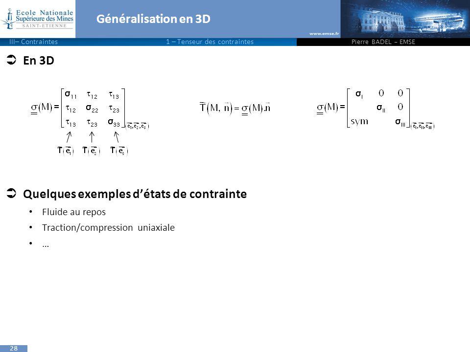 28 Généralisation en 3D  En 3D  Quelques exemples d'états de contrainte Fluide au repos Traction/compression uniaxiale … Pierre BADEL - EMSE III– Contraintes1 – Tenseur des contraintes