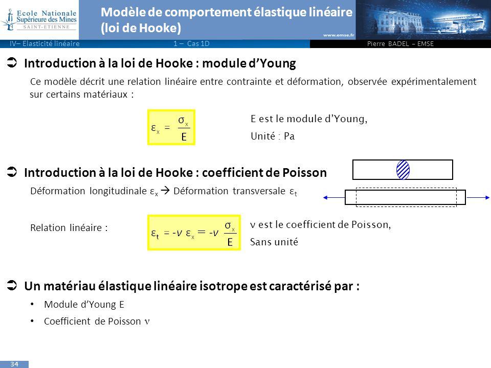 34 Modèle de comportement élastique linéaire (loi de Hooke)  Introduction à la loi de Hooke : module d'Young Ce modèle décrit une relation linéaire entre contrainte et déformation, observée expérimentalement sur certains matériaux :  Introduction à la loi de Hooke : coefficient de Poisson Déformation longitudinale ε x  Déformation transversale ε t Relation linéaire :  Un matériau élastique linéaire isotrope est caractérisé par : Module d'Young E Coefficient de Poisson ν Pierre BADEL - EMSE IV– Elasticité linéaire1 – Cas 1D E est le module d'Young, Unité : Pa ν est le coefficient de Poisson, Sans unité