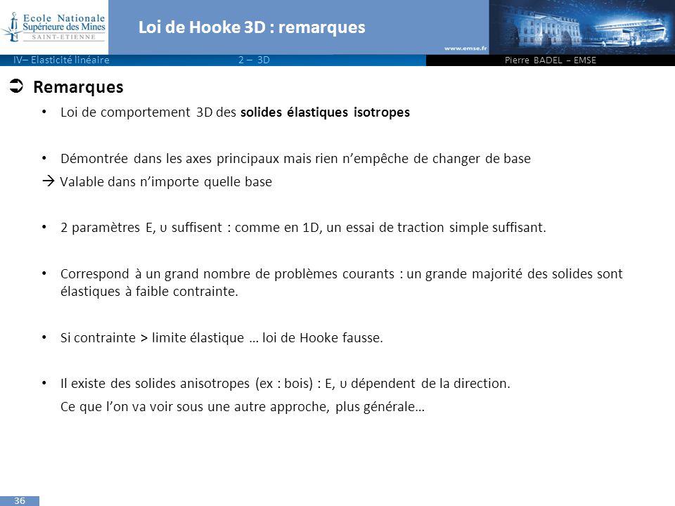 36 Loi de Hooke 3D : remarques  Remarques Loi de comportement 3D des solides élastiques isotropes Démontrée dans les axes principaux mais rien n'empê