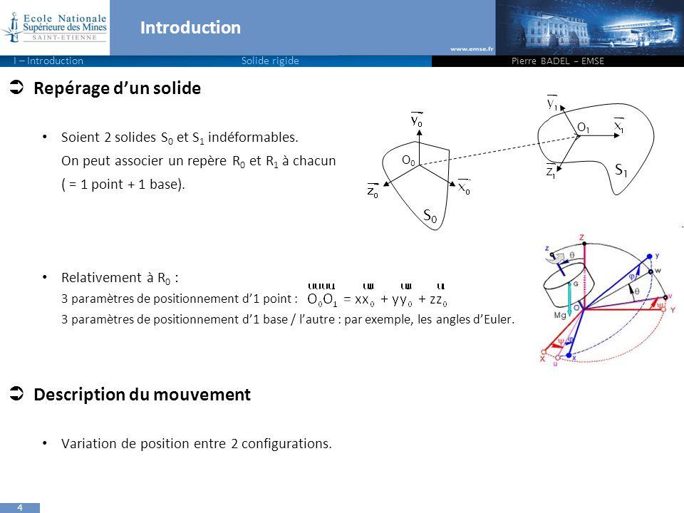 4 Introduction Pierre BADEL - EMSE I – IntroductionSolide rigide  Repérage d'un solide Soient 2 solides S 0 et S 1 indéformables. On peut associer un