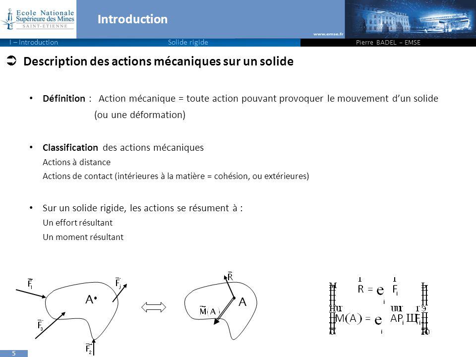 5 Introduction Pierre BADEL - EMSE I – IntroductionSolide rigide  Description des actions mécaniques sur un solide Définition : Action mécanique = to