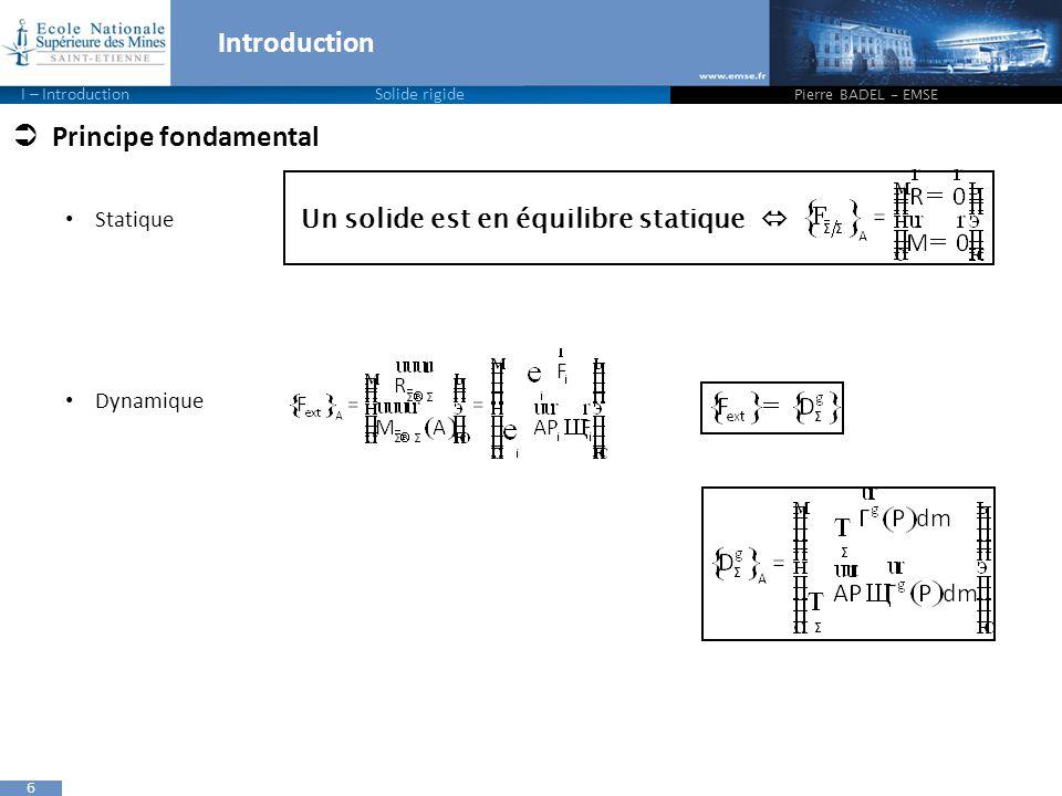 6 Introduction Pierre BADEL - EMSE I – IntroductionSolide rigide  Principe fondamental Statique Dynamique Un solide est en équilibre statique 