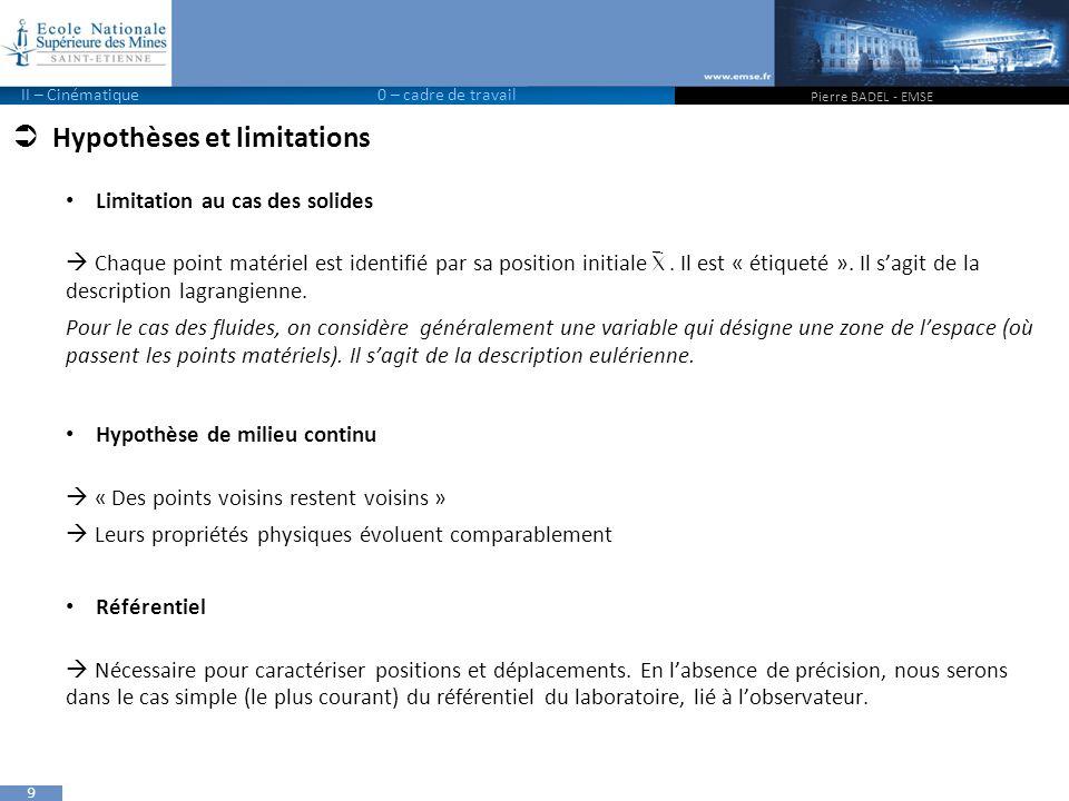 9  Hypothèses et limitations Limitation au cas des solides  Chaque point matériel est identifié par sa position initiale.