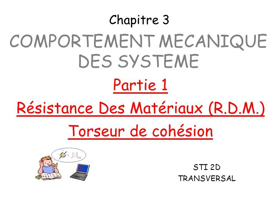 COMPORTEMENT MECANIQUE DES SYSTEME STI 2D TRANSVERSAL Partie 1 Résistance Des Matériaux (R.D.M.) Torseur de cohésion Chapitre 3