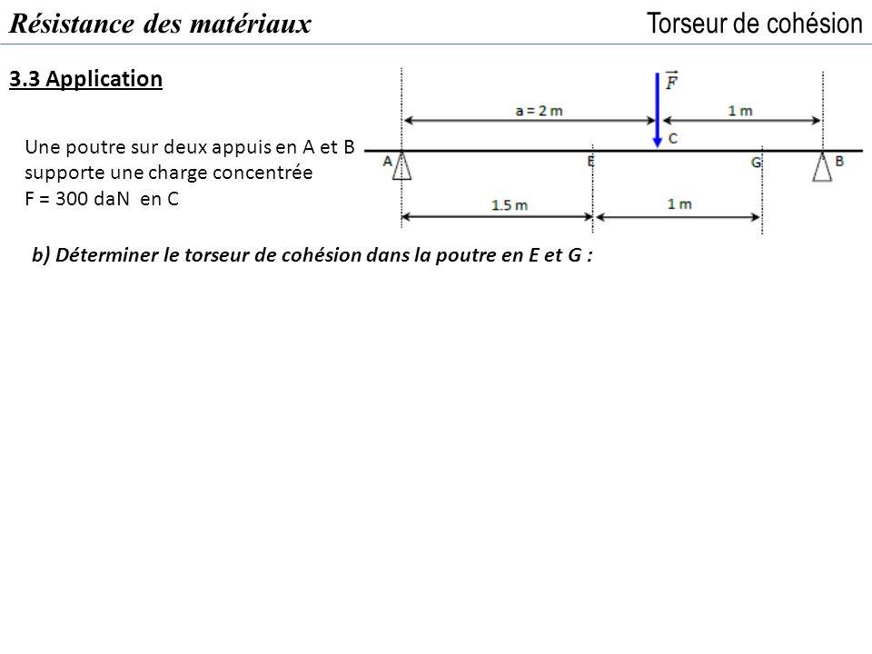 Résistance des matériaux Torseur de cohésion 3.3 Application Une poutre sur deux appuis en A et B supporte une charge concentrée F = 300 daN en C b) D