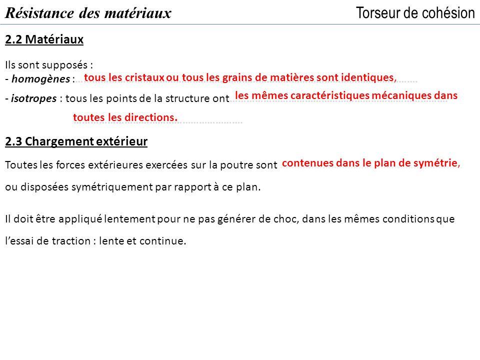 Résistance des matériaux Torseur de cohésion 3.