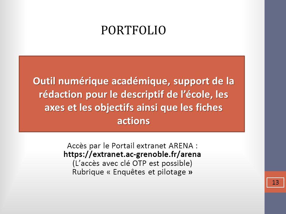 PORTFOLIO Accès par le Portail extranet ARENA : https://extranet.ac-grenoble.fr/arena (L'accès avec clé OTP est possible) Rubrique « Enquêtes et pilot