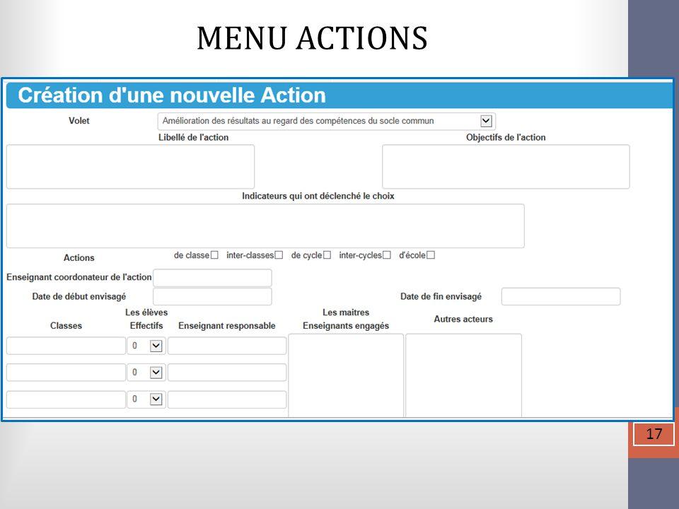 MENU ACTIONS  17