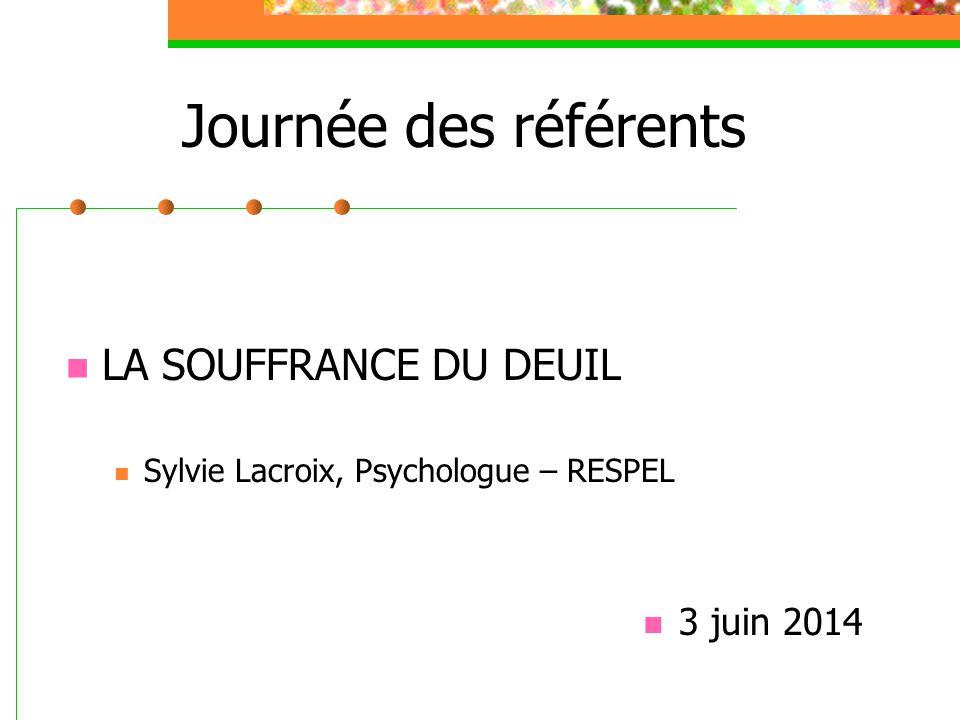 Journée des référents LA SOUFFRANCE DU DEUIL Sylvie Lacroix, Psychologue – RESPEL 3 juin 2014